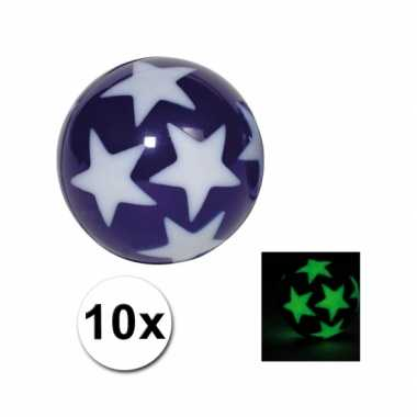 Groothandel  10 stuiterballetjes glow in the dark sterren speelgoed k