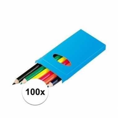 Groothandel 100x 6 kleurpotloden in een doosje speelgoed kopen