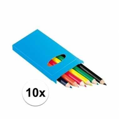 Groothandel 10x doosje potloden 6 stuks speelgoed kopen