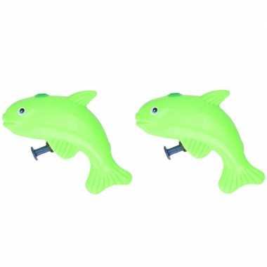 Groothandel 10x stuks speelgoed waterpistolen vis groen 9 cm kopen