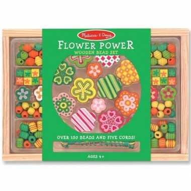 Groothandel 120 delige kralenset van hout flower power speelgoed