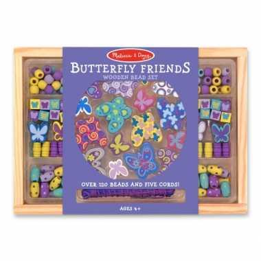 Groothandel 120 delige kralenset van hout vlindertjes speelgoed