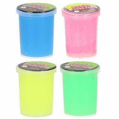 Groothandel 12x stuks potjes met glow in the dark speelgoed slijm in 4 kleuren kopen
