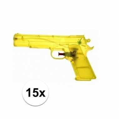 Groothandel 15 stuks voordelige waterpistolen weggevertjes geel speel