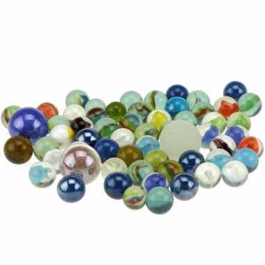 Groothandel 180x glazen gekleurde speelgoed knikkers in net kopen