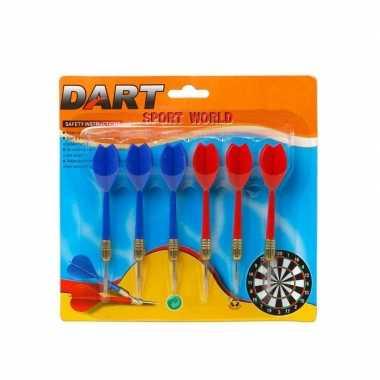 Groothandel 18x dartpijltjes rood en blauw 11,5 cm sportief speelgoed kopen