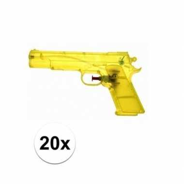 Groothandel 20 stuks voordelige waterpistolen weggevertjes geel speel