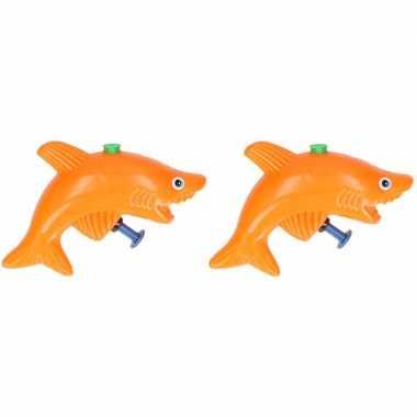 Groothandel 20x stuks speelgoed waterpistolen haai oranje 9 cm kopen