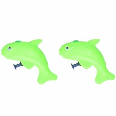 Groothandel 20x stuks speelgoed waterpistolen vis groen 9 cm kopen