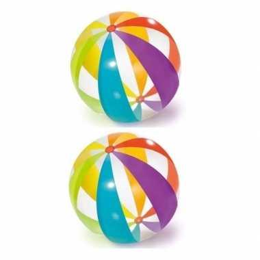 Groothandel 2x grote opblaasbare doorzichtige strandballen met kleure