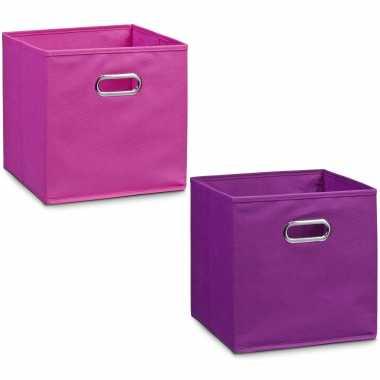 Groothandel 2x roze en paarse opbergmandjes kinderkamer 28 x 28 cm speelgoed kopen