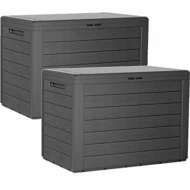 Groothandel 2x stuks antraciet tuin kussen opbergbox hout patroon 190 liter speelgoed kopen
