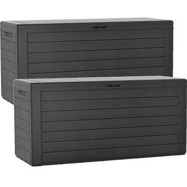 Groothandel 2x stuks antraciet tuinkussen box hout motief 280 liter speelgoed kopen