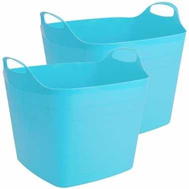 Groothandel 2x stuks flexibele kuip emmer/wasmand vierkant blauw 40 liter speelgoed kopen