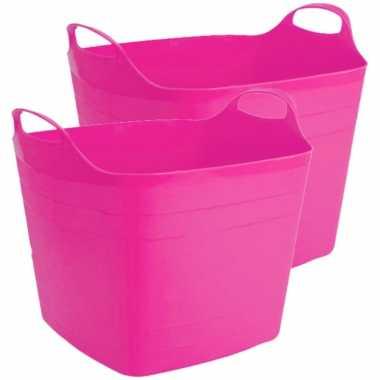 Groothandel 2x stuks flexibele kuip emmer/wasmand vierkant fuchsia roze 40 liter speelgoed kopen
