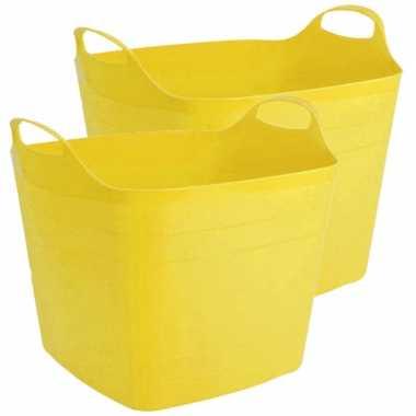 Groothandel 2x stuks flexibele kuip emmer/wasmand vierkant geel 40 liter speelgoed kopen