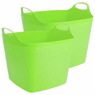 Groothandel 2x stuks flexibele kuip emmer/wasmand vierkant groen 40 liter speelgoed kopen