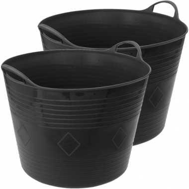 Groothandel 2x stuks flexibele kuip emmer/wasmand vierkant zwart 40 liter speelgoed kopen