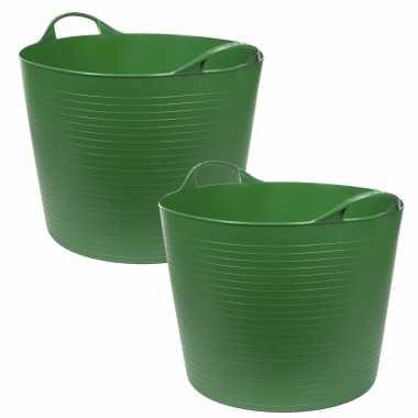 Groothandel 2x stuks flexibele kuip emmers/wasmanden rond groen 45 liter speelgoed kopen