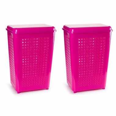 Groothandel 2x stuks grote wasmand/opberg mand met deksel 50 liter in het fuchsia roze speelgoed kopen