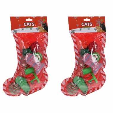 Groothandel 2x stuks kerstsok cadeau met speelgoed voor katten/poezen kopen