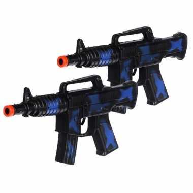 Groothandel 2x stuks kinder speelgoed verkleedwapens/machinegeweren soldaten/leger met geluid 27 cm kopen