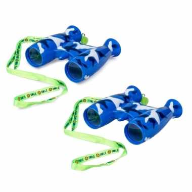 Groothandel 2x stuks kinder speelgoed verrekijkers blauw voor peuters 9 cm kopen