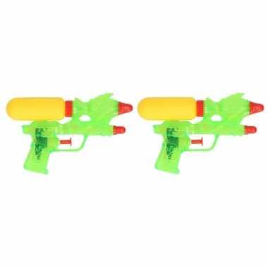 Groothandel 2x stuks mini waterpistolen groen 18 cm speelgoed kopen