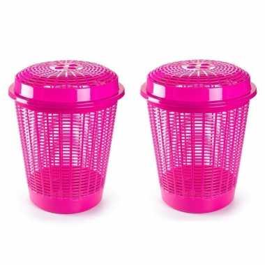 Groothandel 2x stuks ronde wasmanden/opberg mand met deksel 50 liter in het roze speelgoed kopen