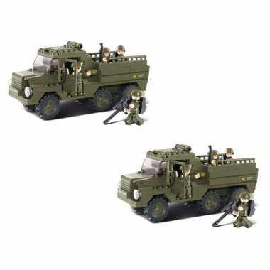 Groothandel 2x stuks sluban leger speelgoed vrachtwagen 31 cm bouwsteentjes kopen