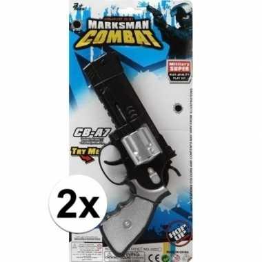 Groothandel 2x stuks speelgoed pistolen combat /politie 35 cm kopen