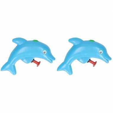 Groothandel 2x stuks speelgoed waterpistooltjes dolfijn blauw 9 cm kopen