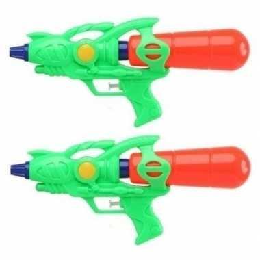 Groothandel 2x watergeweren groen 33 cm speelgoed kopen