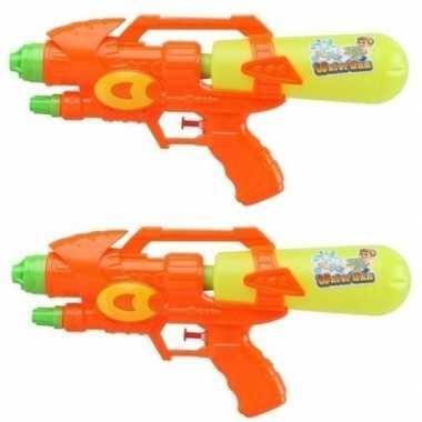 Groothandel 2x watergeweren oranje/geel 34 cm speelgoed kopen