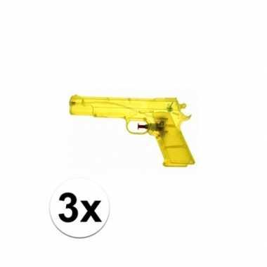 Groothandel 3 stuks voordelige waterpistolen weggevertjes geel speelg