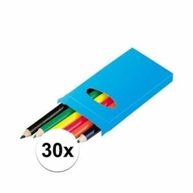 Groothandel 30x 6 kleurpotloden in een doosje speelgoed