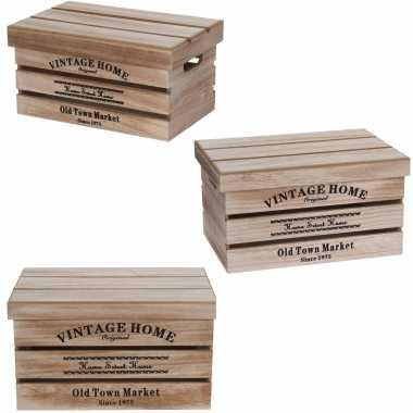 Groothandel 3x houten opbergkisten met deksel in verschillende formaten speelgoed kopen