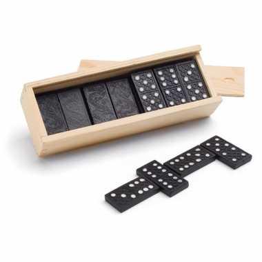 Groothandel 3x speelgoed domino spellen in houten kistje kopen