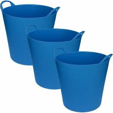 Groothandel 3x stuks blauwe flexibele opbergmand/emmer 20 liter speelgoed kopen