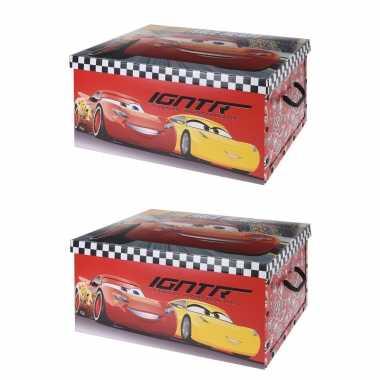 Groothandel 3x stuks opbergbox/opbergdoos cars rood 49 x 39 x 24 cm speelgoed kopen