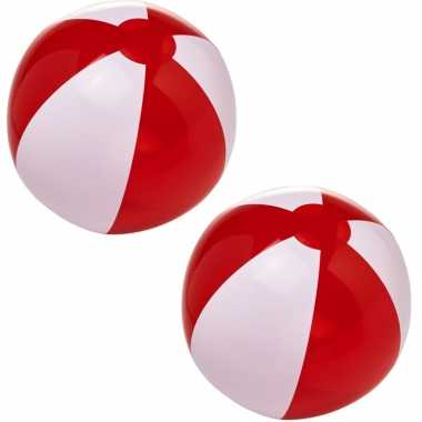 Groothandel 3x stuks opblaas rood/witte strandballen 30 cm waterspeelgoed kopen