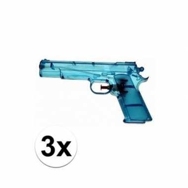 Groothandel 3x voordelige waterpistolen blauw speelgoed kopen