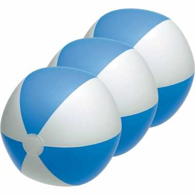 Groothandel 3x waterspeelgoed blauw/witte strandballen 28 cm kopen