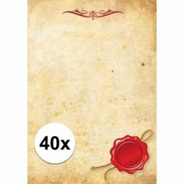 Groothandel 40x briefpapier a4 perkament stijl speelgoed kopen