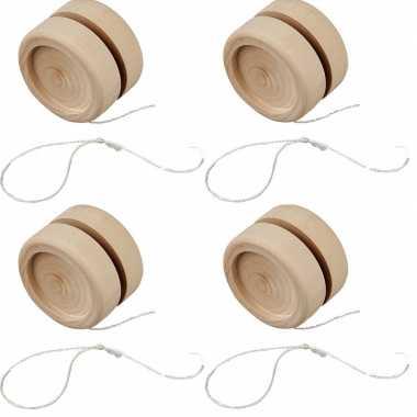 Groothandel 4x houten jojo 5 cm om te knutselen speelgoed kopen