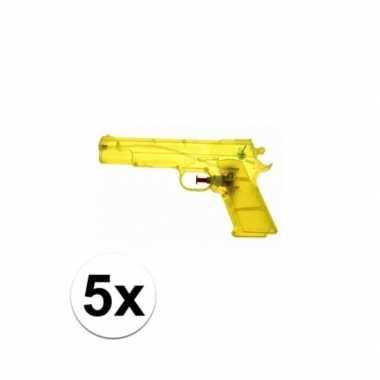 Groothandel 5 stuks voordelige waterpistolen weggevertjes geel speelg