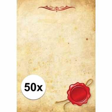 Groothandel 50x briefpapier a4 perkament stijl speelgoed kopen
