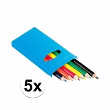 Groothandel 5x doosje potloden 6 stuks speelgoed
