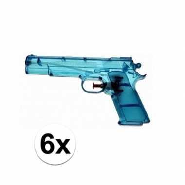Groothandel 6x voordelige waterpistolen blauw speelgoed kopen