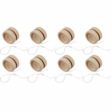 Groothandel 8x houten jojo 5 cm om te knutselen speelgoed kopen